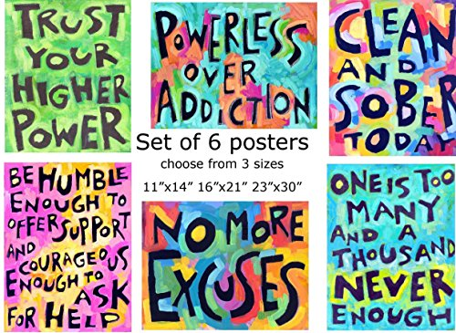 Set of 6: Sober, 12 step, Recovery Posters (12 Step Posters)