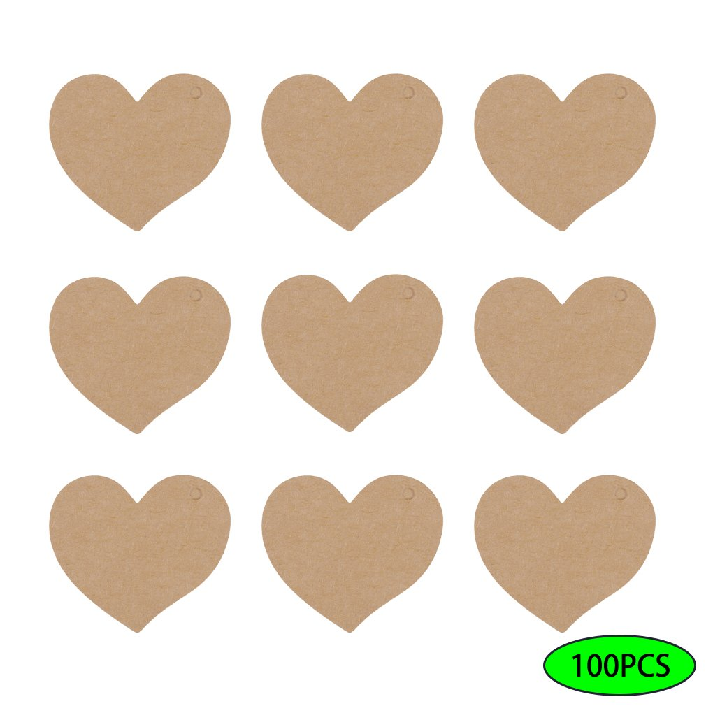 Vvciic 100Pcs / Lot del cuore della carta kraft Prezzo Tag portabagagli Nota dei desideri cartone