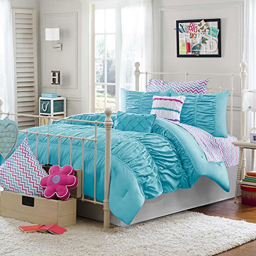 Teen Girls Chevron 5-Piece Bedding for Kids Aqua Blue Pinch Pleat Ruffles Bed in a Bag TWIN/TWIN XL Comforter Set (Teal Chevron Toddler Bedding)