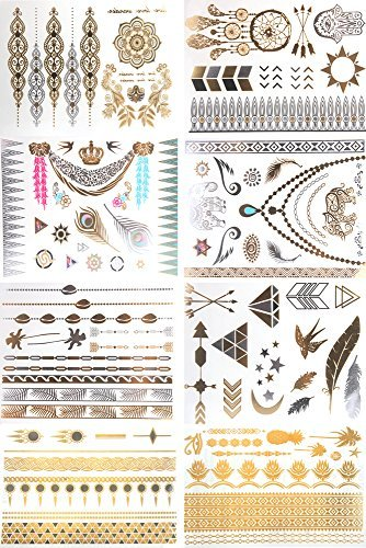 Metallic Temporary Tattoos, KissDate 150+ Henna & Boho Designs in Gold Silver Black, Fake Glitter Jewelry Tattoos- Bracelets, Necklaces, Wrist, Anklets and Armbands(8 Sheets) Collection Diamond Cuff Bracelet