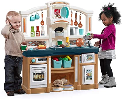 Amazon Com Step2 Fun With Friends Kitchen Large Plastic Play Kitchen With Realistic Lights Sounds Blue Kids Kitchen Playset 45 Pc Kitchen Accessories Set Toys Games