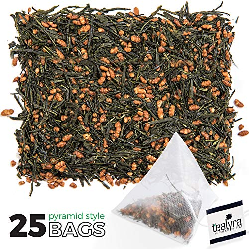 Tealyra - Imperial Gyokuro Genmaicha - 25 Bags - Japanese Loose Leaf Tea - Gen Mai Cha Green Tea, Brown Roasted Rice - Organically Grown - 25 Sachets ()