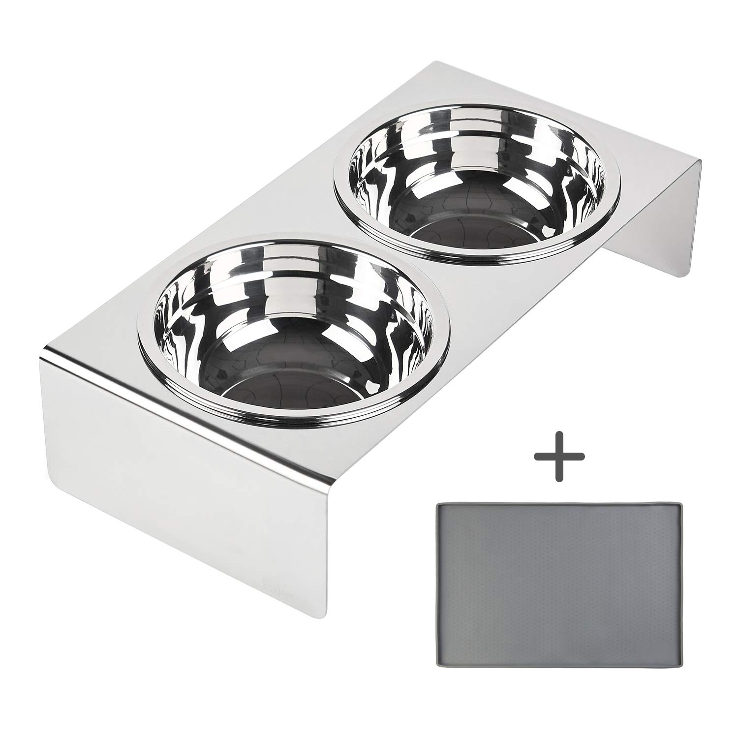 Eudemonia 4'' Stainless Steel Elevated Cats & Dogs Food Bowls with Silicone Food Mat, Raised Pet Feeder for Kitten&Puppy&Small Dogs by Eudemonia