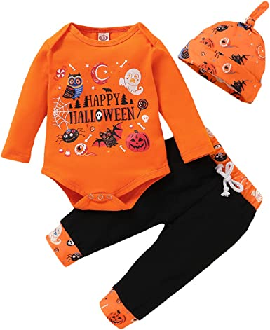 Stripe Pants with Hat 2PCS Outfits Toddler Baby Halloween Clothes Set Pumpkin Smiles Romper