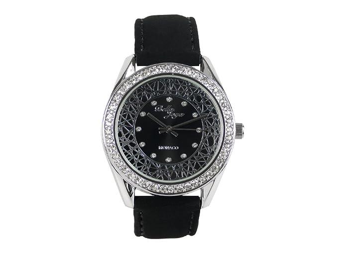 """Bella joya Mujer Reloj """"Monaco, carcasa plateada con brillantes, correa de"""