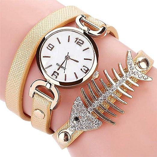 Scpink Reloj de Pulsera con Diamantes de imitación con Hueso de pez, Relojes de señora analógica a la Venta Relojes Casuales para Mujer Reloj de Cuero ...
