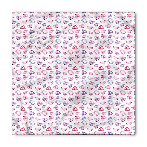 Diamonds Bandana by Ambesonne, Crystals of Many Colors Pear Oval and Heart Shaped Illustration Watercolor, Printed Unisex Bandana Head and Neck Tie Scarf Headband, 22 X 22 Inches, Pink Violet - Shaped Men Pear Face