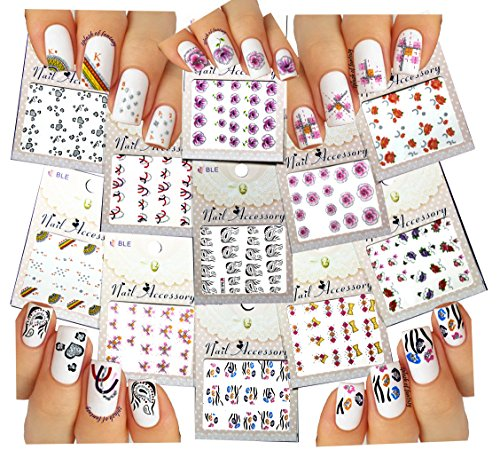 Elegant Water Slide Tattoo Stickers For Nail Art - Abstract, Hearts, Flowers, Bows, Feathers, & More - Pack of (Gliter Flower)