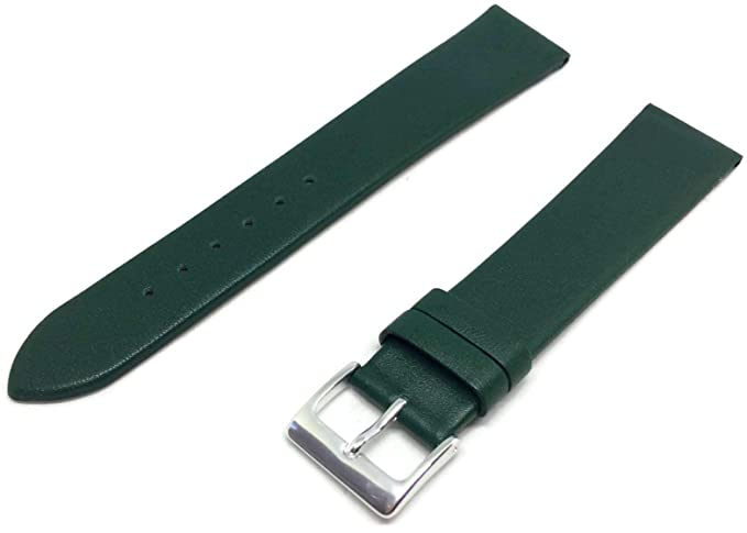 Correa para reloj de piel de vacuno color verde con hebilla de cromo extra larga de 16 mm: Amazon.es: Relojes
