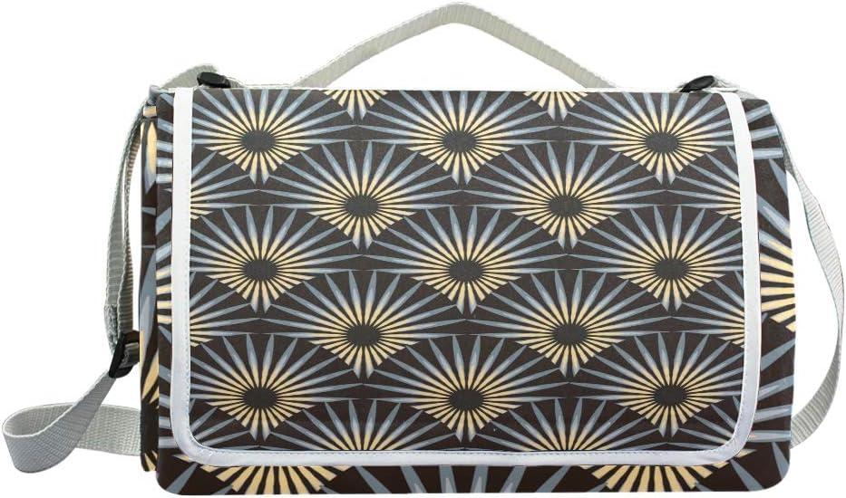 XINGAKA Coperta da Picnic Tappetino Campeggio,Fiori Appuntiti stilizzati delle File Senza Cuciture delle mattonelle,Giardino Spiaggia Impermeabile Anti Sabbia 3
