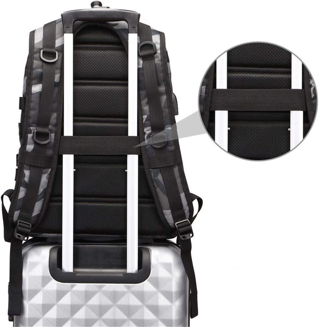 New USB Charging Men Backpack 15.6 Inch Laptop Bag Multi-Functional School Bags Level Camouflage black 15 Inches