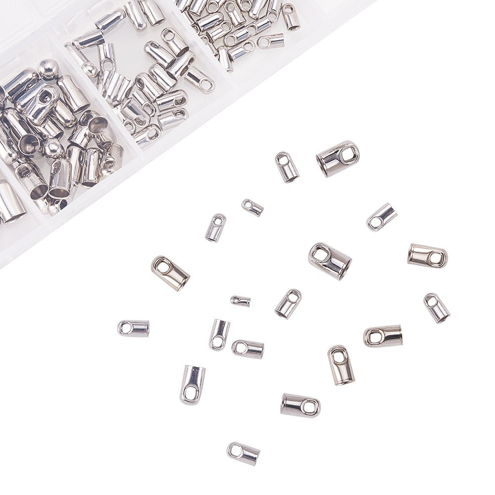 PandaHall Elite 60 Pcs 304 Stainless Steel Leather Cord End Cap Bead Barrel Loop Clasp Inner Diameter 3.5mm 6mm 8mm for Jewelry Making