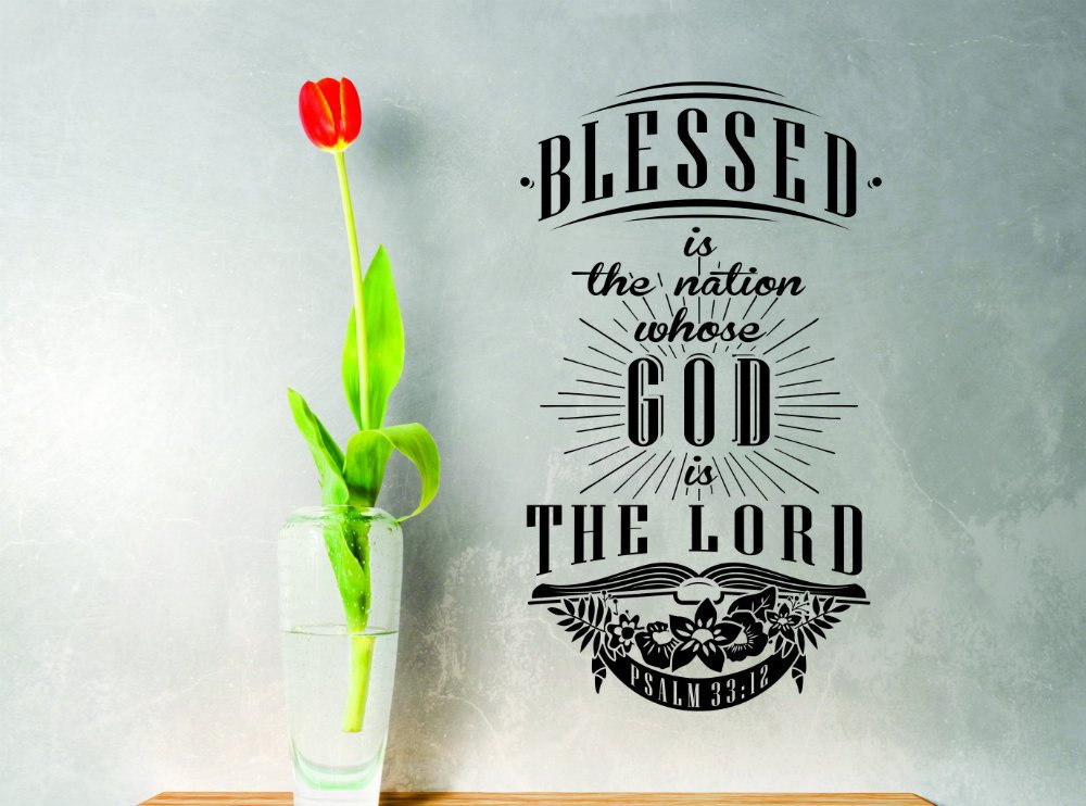 Design with Vinyl Zzz 1008 3 Decor Item Blessed is The Nation Whose God is Lord Quote Home Decor Wall Sticker Decal 20-Inch x 30-Inch Black