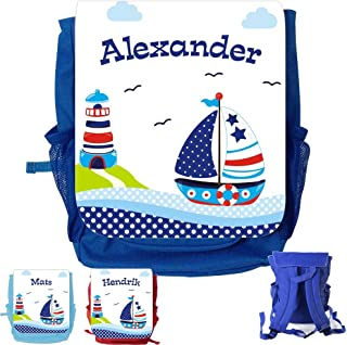 MissRompy Segelboot (857) Rucksack mit Name Kinderrucksack Kita Kindergartenrucksack Kindertasche