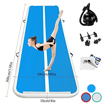 Kikilive Airtrack Mat Length 3/4/5/6M airtrack Gimnasia artistica Inflable Tumbling Gimnasia Training Mat Bomba de Aire eléctrica para el ...