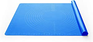 Silicone Baking Mat for Dough Rolling Pastry Mat Large Nonstick and Nonskid Heat Resistent, Countertop Protector, Dining Table Mat and Placemat 20'' by 16'' (Large Size, Blue with Measurements)