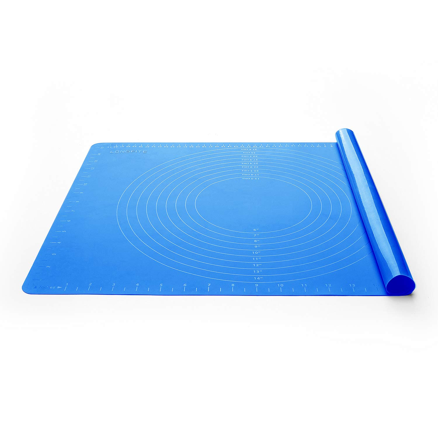 Silicone Baking Mat for Pastry Rolling Dough Mats Large Nonstick and Nonslip with Measurements,Dining Table Placemat 20'' by 16''(With Measurements, Blue)