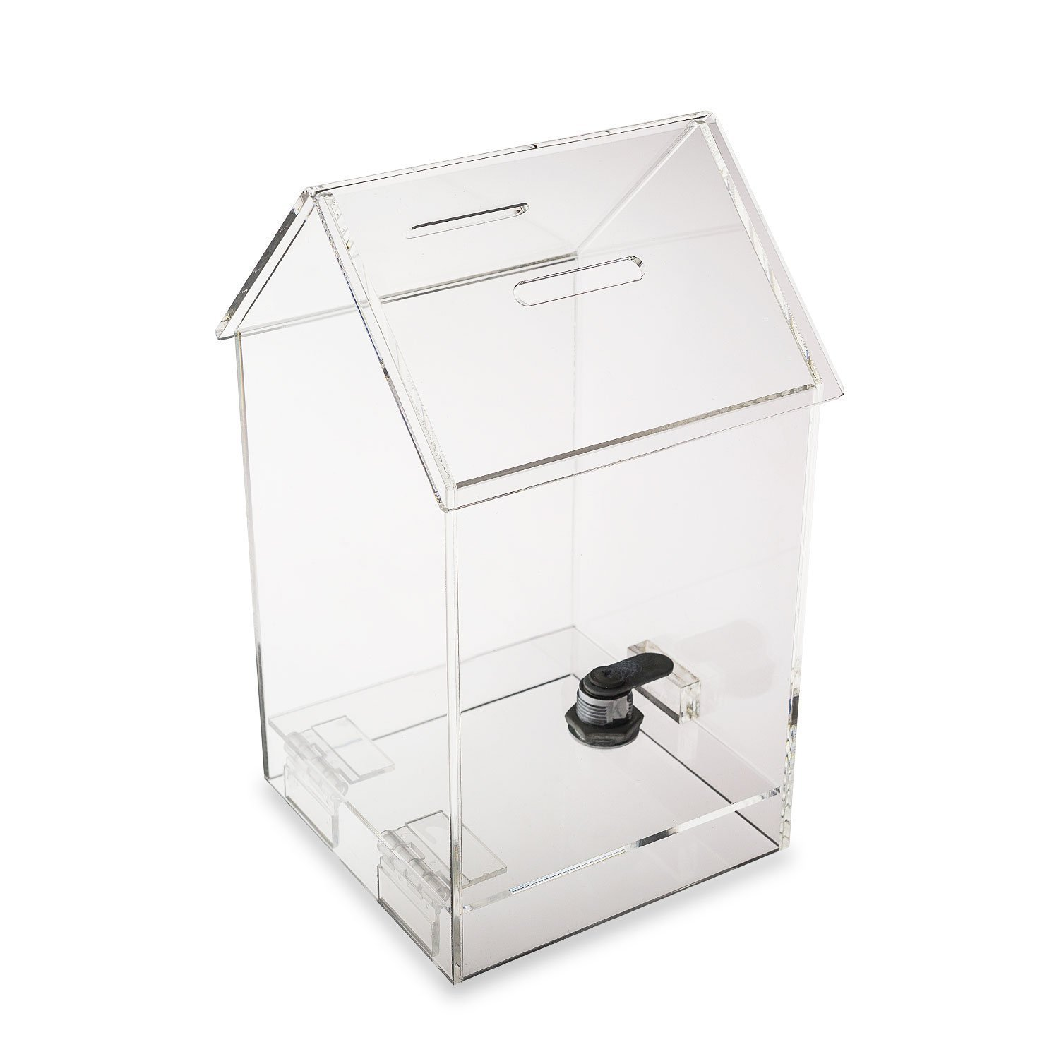 Source One Tall Penthouse Acrylic Box - Donation Box - House shape Ballot Box - Tip Container (8 Pack )