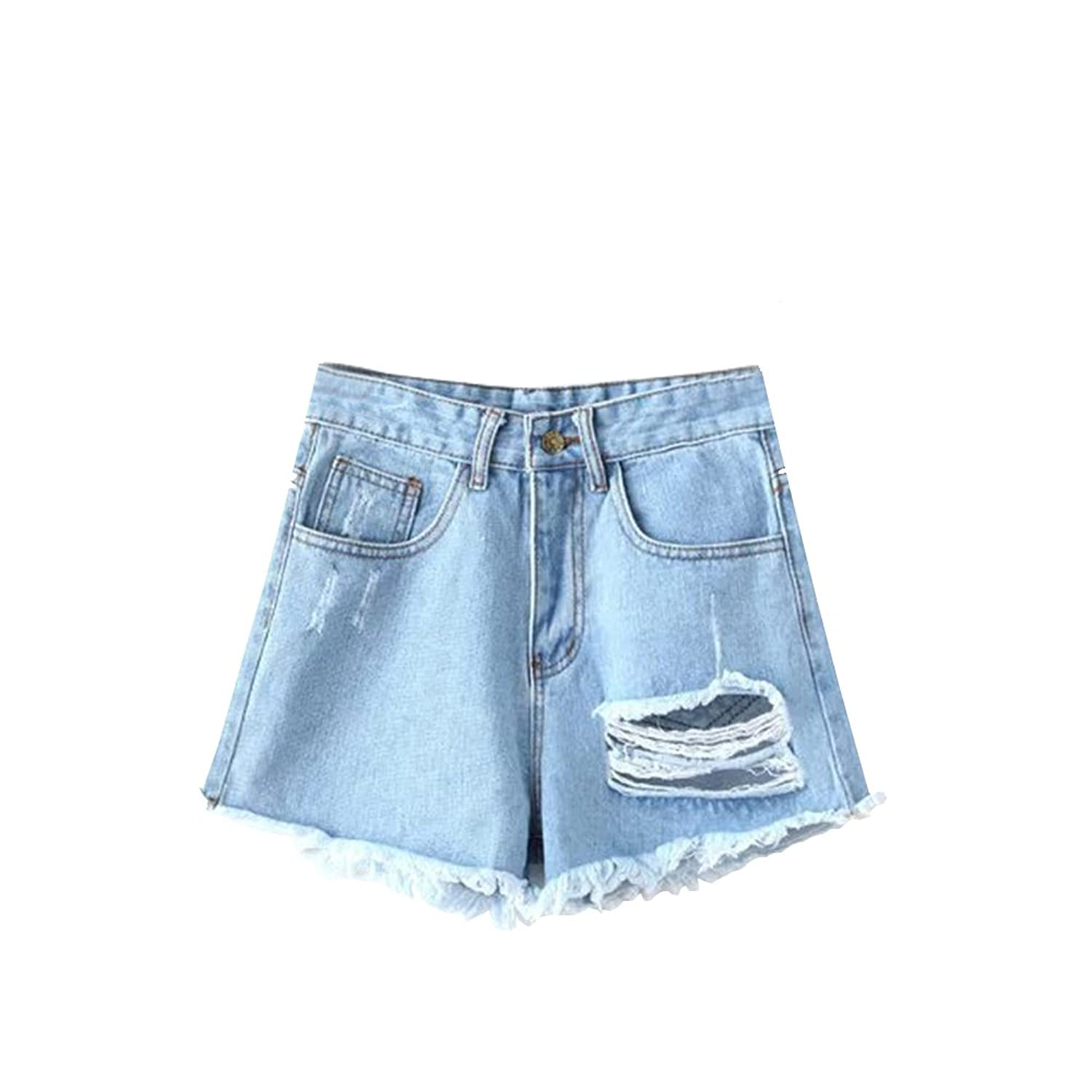 New Spring and Summer Light Hole Edges in Waist Denim Shorts