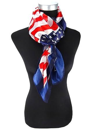 foulard en marine bleu rouge argent blanc US-Style, Chiffon Satin, taille  100x100 9d10b472150
