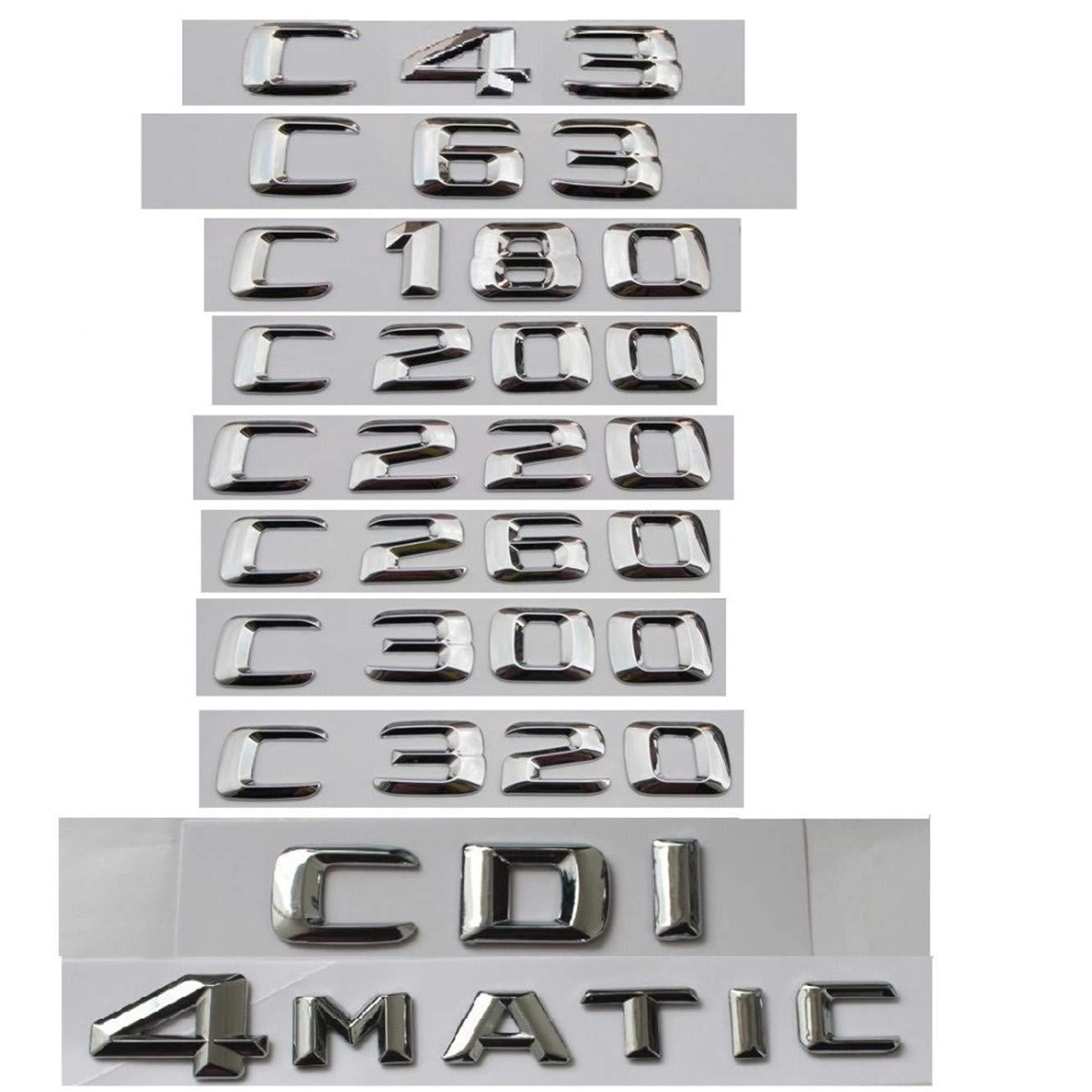 CXYYJGY Classe C C63 C43 C55 AMG C180 C200 C220 C300 C320 C350 4MATIC CDI Coffre Embl/ème Chrome Lettere Embl/èmes