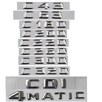 CXYYJGY Clase C C63 C43 C55 AMG C180 C200 C220 C300 C320 C350 4MATIC CDI Embl/ème Emblemas de Letras cromadas