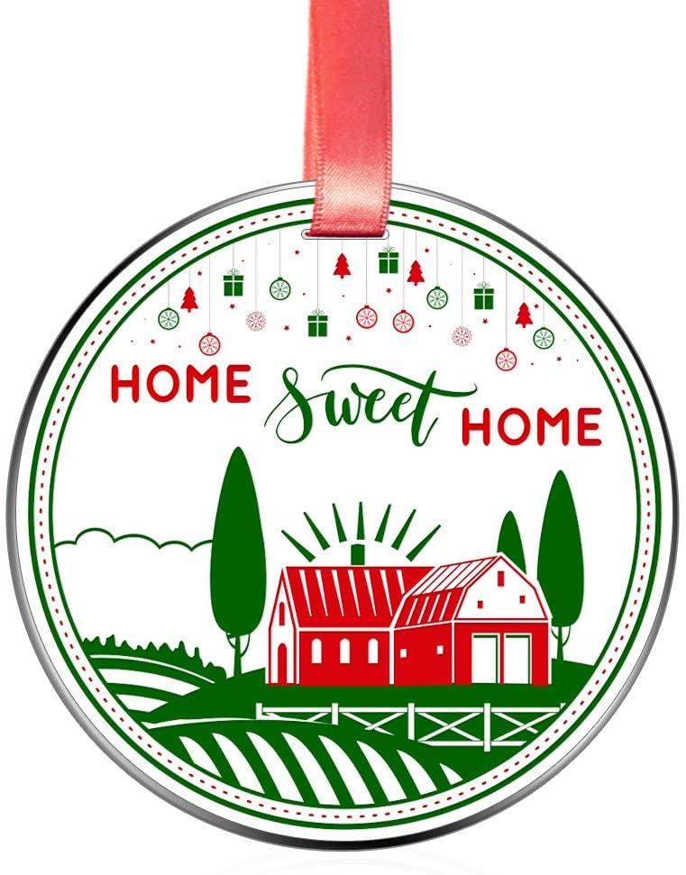 Elegant Chef Home Sweet Home Christmas Ornament Keepsake- New Home Ornament- Housewarming House Owner Bridal Shower Wedding Gifts- 1st time Homeowner Real Estate Closing Gift- 3 inch Stainless Steel