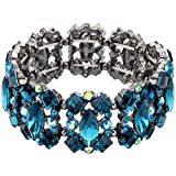 EVER FAITH Women's Crystal Vintage Style Elegant Bridal Elastic Stretch Bracelet Sea Blue Black-Tone