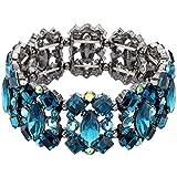 EVER FAITH Women's Crystal Vintage Style Elegant Bridal Elastic Stretch Bracelet Sea Blue Black-Tone
