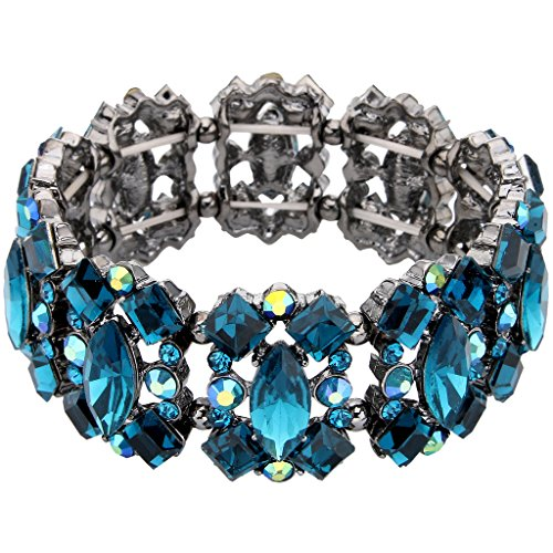 Crystal Vintage Style Bracelet - EVER FAITH Women's Crystal Vintage Style Elegant Bridal Elastic Stretch Bracelet Sea Blue Black-Tone