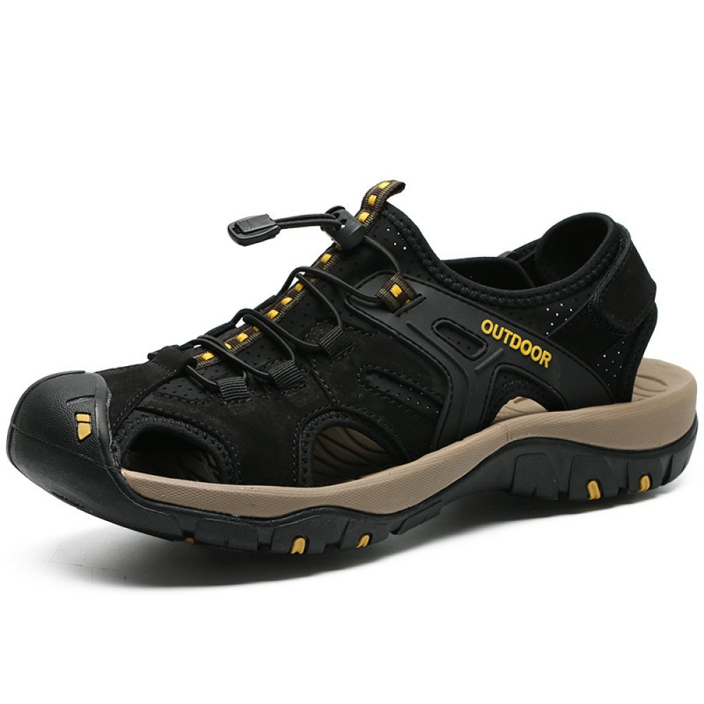 Herren Sommer Outdoor Sports Sandalen Leder Closed-Toe Outdoor Sandalen Trekking Schuhe