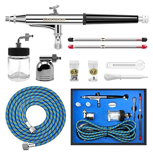 Gocheer Airbrush Set Double Action Airbrush Guns Set Pies with 0.2mm, 0.3mm, 0.5mm Nozzle Needle for Art Tattoo Nail Art Makeup Craft Cake Spray Modeling Tool