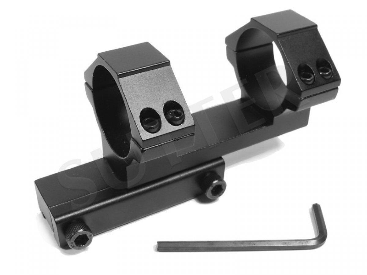 Riel de montaje acodado estable d=30 mm   Desplazado a 25 mm   Riel de montaje, anillo de montaje para miras telescópicas RedDot y visores SUTTER