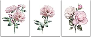 """Pink Rose Plant Flower Art Prints Set of 3 ( 8""""X10""""Canvas Picture) Modern Abstract Living Room Bedroom Corridor Bathroom Spa Cloakroom Wall Poster Art Painting Home Decor Unframed"""