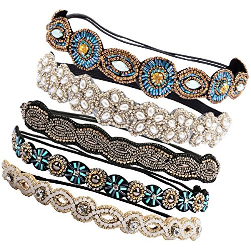 Ondder 5 Pieces Rhinestone Beads Elastic Headband Handmade Crystal Beads Hairbands Hair Accessories For Women Girls by Ondder