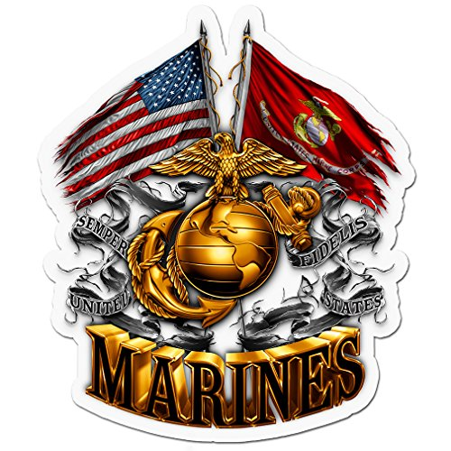 Marine Corps Decals, Show Your Pride with our DOUBLE FLAG GOLD GLOBE MARINE CORPS Patriotic Decals, Perfect for Your Kitchen, Car, Wall or Bike, Gifts for Marines (6IN) (Marine Globe Corps)