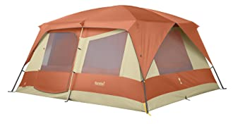 This best family camping tent photo shows the popular Eureka Copper Canyon Cabin 12-person tent.