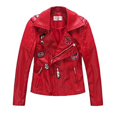 f54cace31012 Amazon.com  LJYH Toddler   Big Girls Faux Leather Motorcycle Moto ...