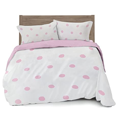 Full/Queen Pink Polka Dot Duvet Cover Set With 2 Pillowcases For Kid Bedding  By