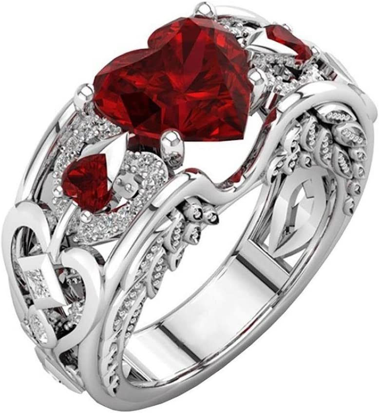 Logobeing Moda Mujer Anillo Joyería y Accesorios - Plata Natural Rubí Piedras Preciosas Birthstone Novia Boda Compromiso Corazón Anillo (Rojo, Tamaño 8 (18 mm))