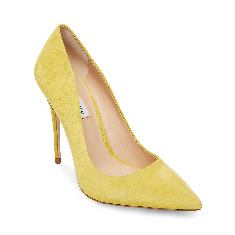 Steve Madden Women's Daisie Pump, Yellow Suede, 8.5 M US