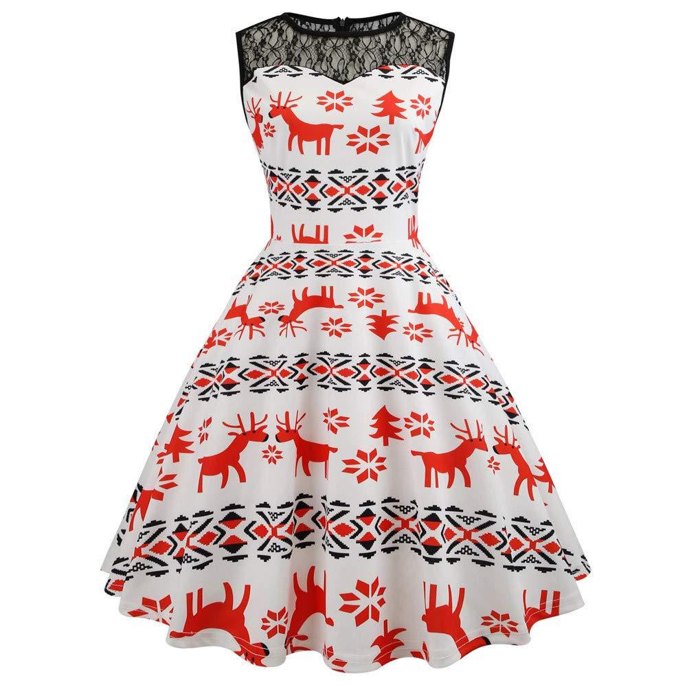 Weihnachten Rockabilly Kleider Damen,Plot Frau Retro Ärmellos Elch Drucken Swing Party Kleid Abendkleid