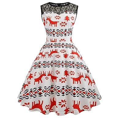 24ef4cac15df8 Amazon.com: Women's Christmas Dress,GREFER Sleeveless O Neck Elk Print Vintage  Xmas Evening Party Dress: Clothing