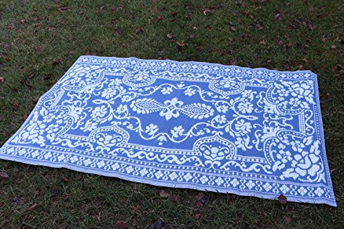 Santa Barbara Collection 100% Recycled Plastic Outdoor Reversable Area Rug Rugs White Navy Blue Traditional Floral san1005Blue 3'11 x 5'3 - Made in USA