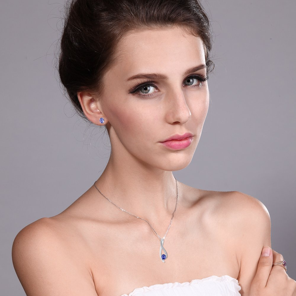 2.32 Ct Oval Blue Tanzanite 925 Sterling Silver Pendant and Earrings Set by Gem Stone King (Image #6)