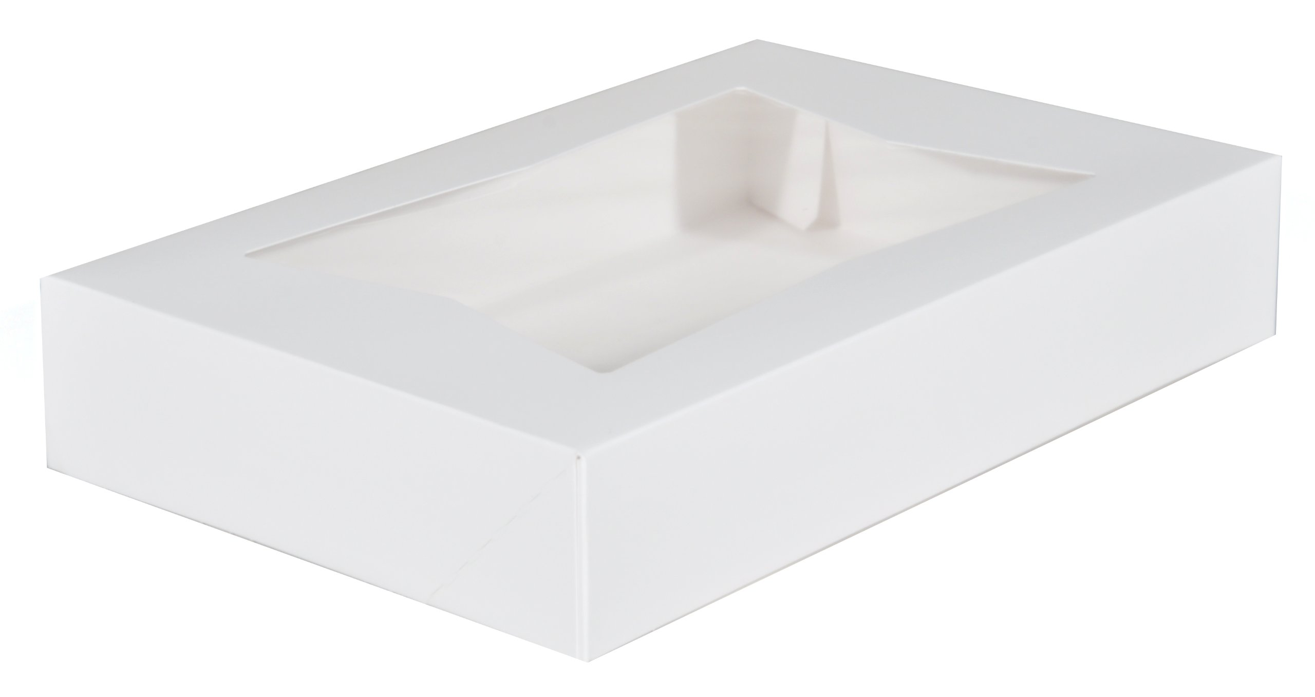 Southern Champion Tray 24343 Paperboard White Window Bakery Box, 12'' Length x 8'' Width x 2-1/4'' Height (Case of 200)