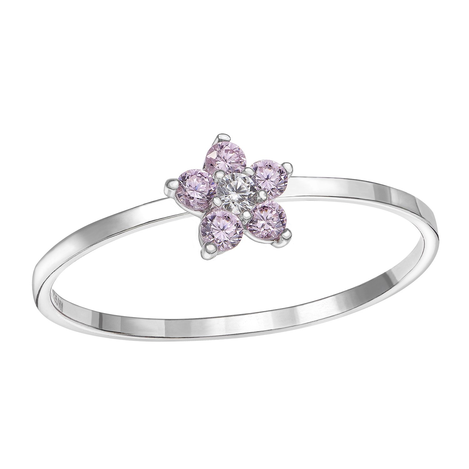 Tilo Jewelry Sterling Silver Flower Ring with Simulated Birthstone /& CZ for Girls