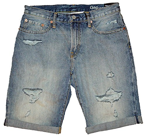 Gap Mens Blue Denim Destroy Slim Fit Shorts 31