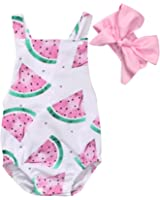Baby Girls Watermelons Print Backless Ruffle Bodysuit with Headband