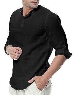 743cb5bef90 Sibylla Men s Casual 3 4 Sleeve Linen Henley T-Shirt High Low Solid Beach